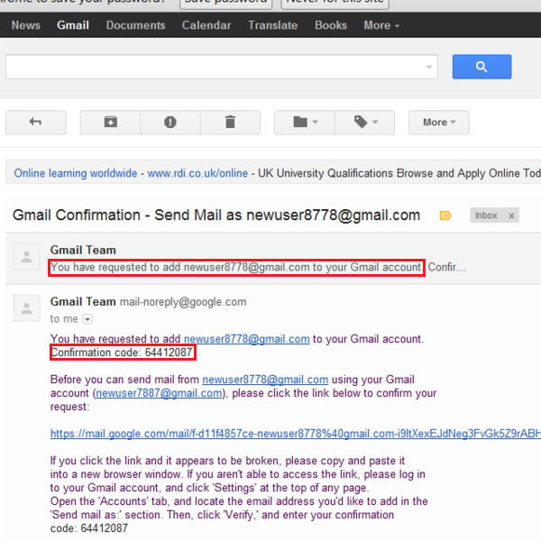 Copy verification code from the second Gmail address
