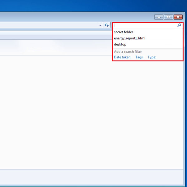 Select the search field of Windows Explorer