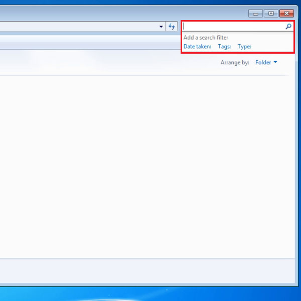 Click on Search field in Windows Explorer