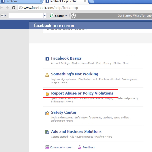 choose to report abuse or violation