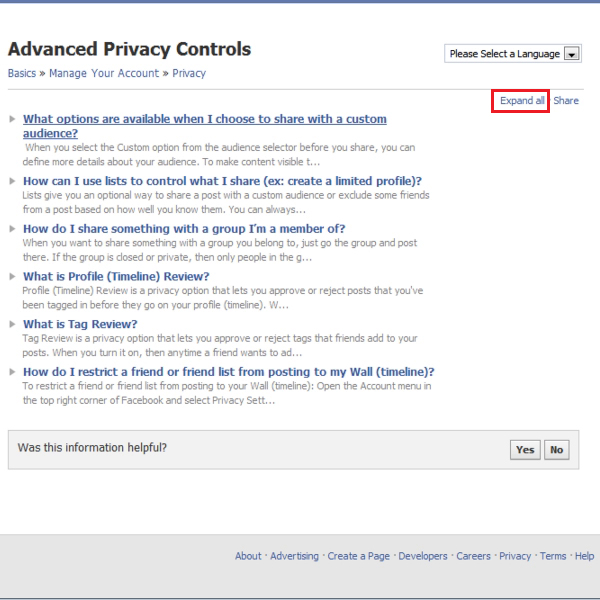 figure out privacy control options