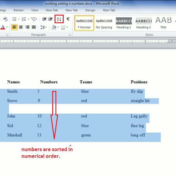 how to order a set of numbers in excel