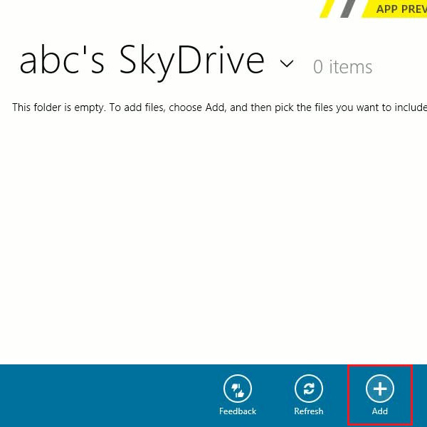 Add files to sky drive