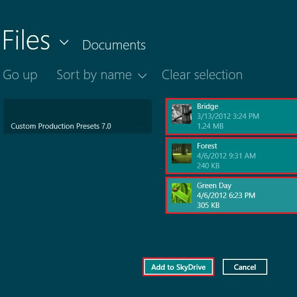 Select files to upload