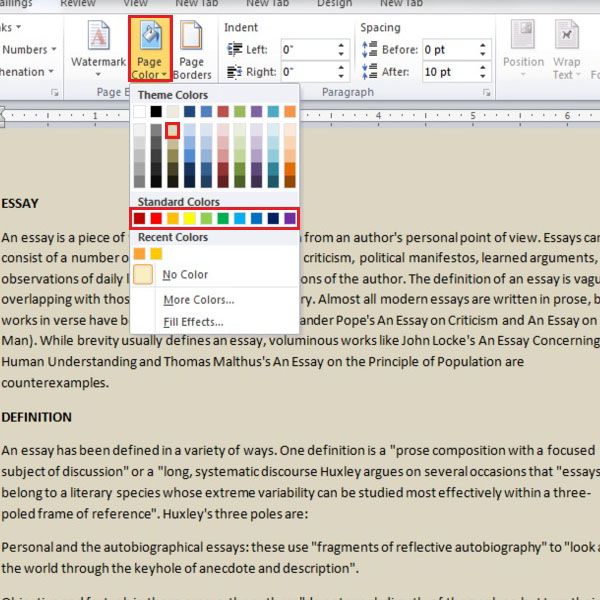 how to change background color microsoft word