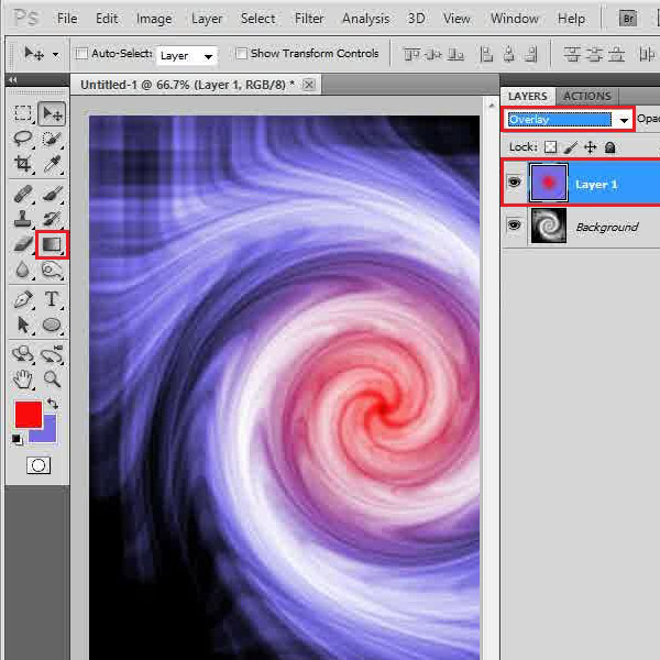 Apply a colorful radial gradient
