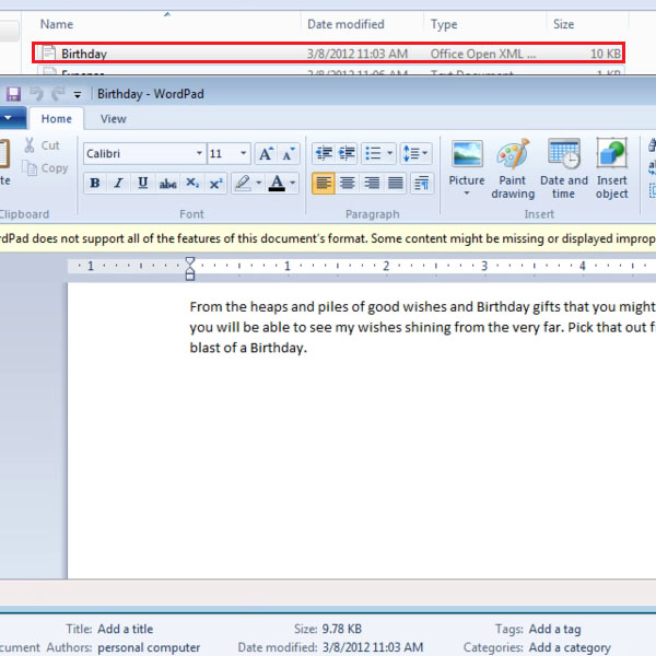 Access Word Documents in Wordpad
