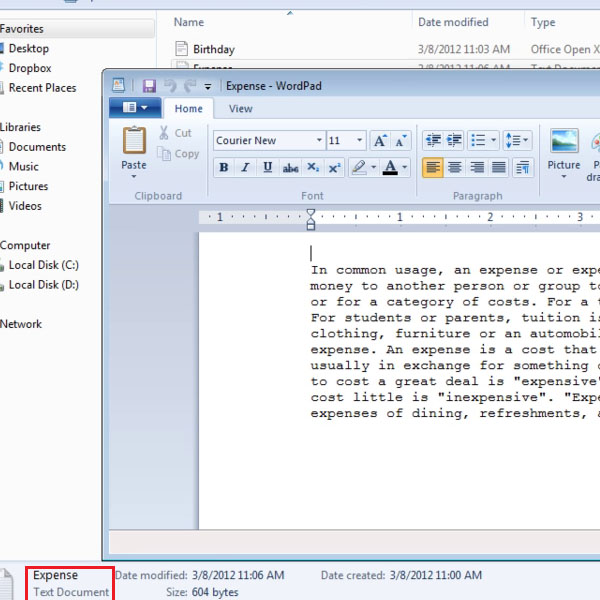 Access Text Document in Wordpad
