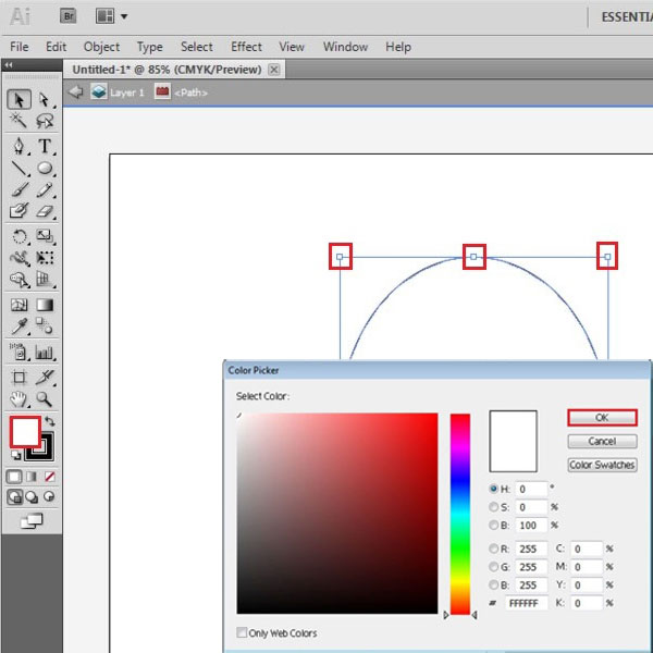 Fill the vector shape with color