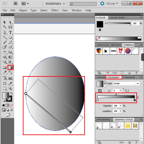 Gradient fill the vector shape