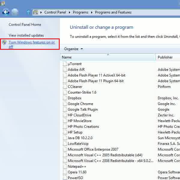 Select the windows feature option