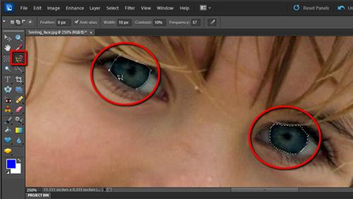 Selecting the eyes for increasing the brightness