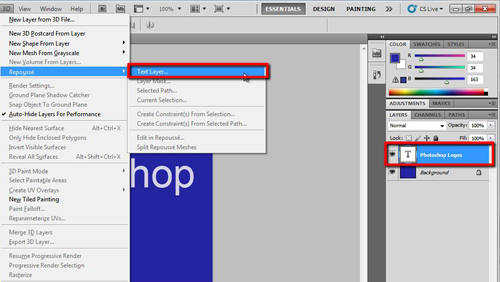 Deselecting the text and opening the 3D window