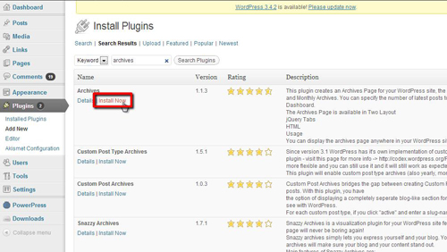 Searching for the correct plugin and installing