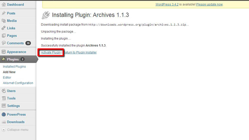 Switching the plugin on